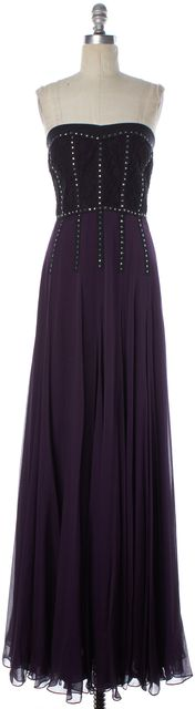 REBECCA TAYLOR Plum Embellished Silk Lace Strapless Maxi Dress