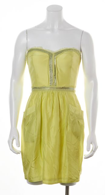 REBECCA TAYLOR Neon Green Yellow Silk Sequin Embellished Sheath Dress