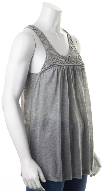 REBECCA TAYLOR Gray Mesh Embroidered Jersey Sleeveless Tank Top