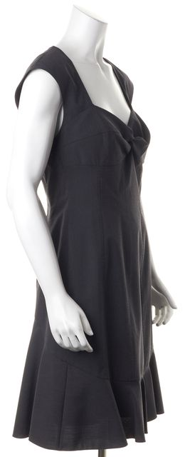 REBECCA TAYLOR Gray Wool Fit & Flare Sleeveless Dress