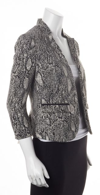REBECCA TAYLOR Black Ivory Snake Print Open Cropped Basic Jacket
