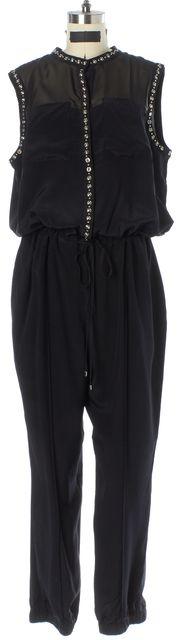 REBECCA TAYLOR Black Stud Embellished Silk Sleeveless Jumpsuit