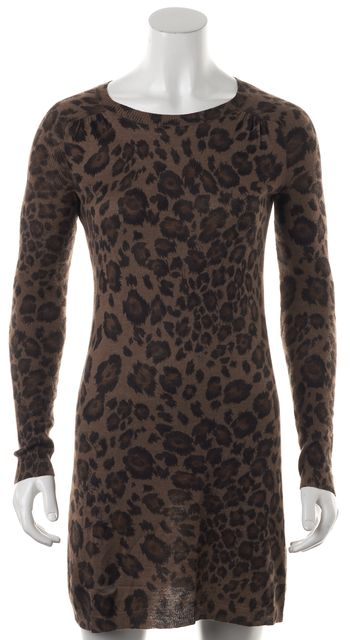 REBECCA TAYLOR Brown Animal Print Silk Sweater Dress