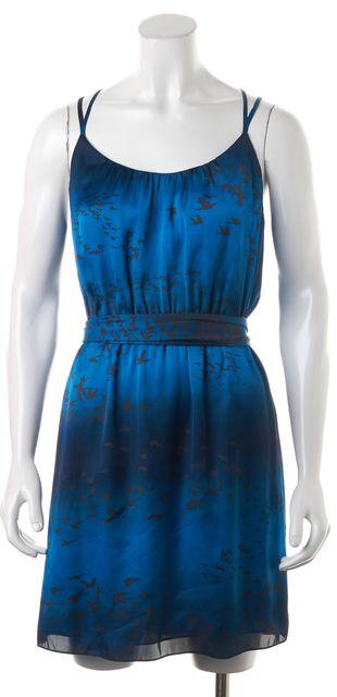 REBECCA TAYLOR Blue Bird Print Ombre Strappy Blouson Dress