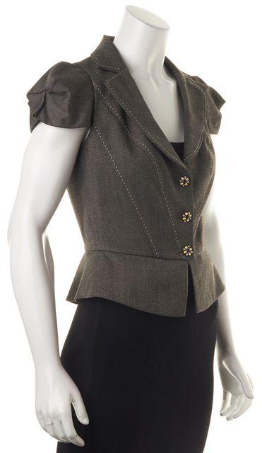 REBECCA TAYLOR Black Cream Short Sleeve Jacket