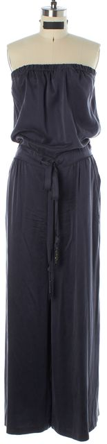 REBECCA TAYLOR Dark Gray Silk Strapless Jumpsuit