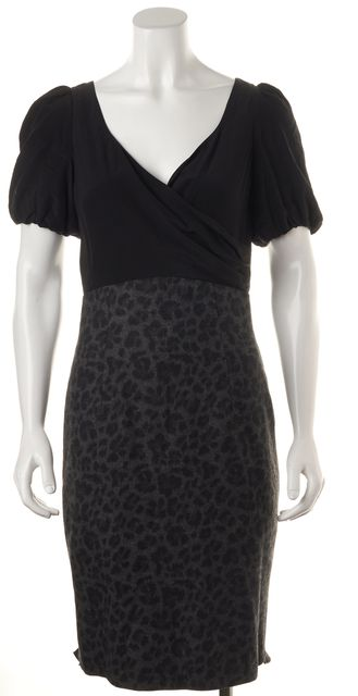 REBECCA TAYLOR Gray Black Animal Print Wool Pencil Dress