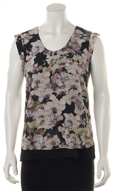 REBECCA TAYLOR Black Pink Ivory Floral Print Silk Cap-Sleeve Blouse Top