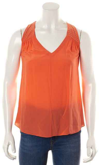 REBECCA TAYLOR Orange Gold Stud Sleeveless Top