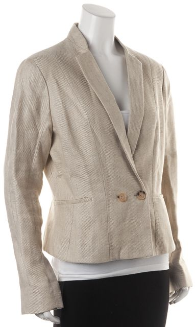 SEE BY CHLOÉ Ivory Gray Linen Double Breasted Blazer Jacket