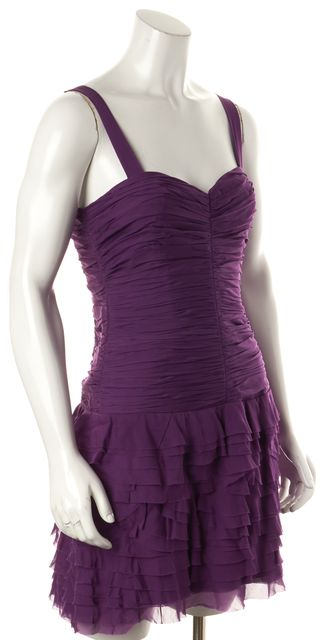 REBECCA TAYLOR Purple Silk Ruched Ruffle Sheath Dress
