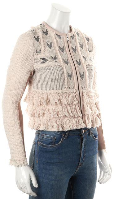 REBECCA TAYLOR Pink Knit Fringe Lamb Leather Trim Zip Up Jacket