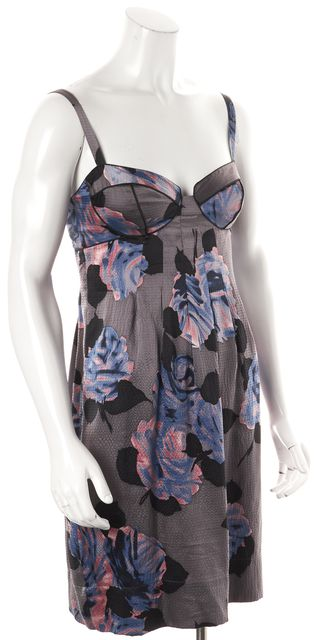 REBECCA TAYLOR Gray Pink Floral Silk Shift Dress