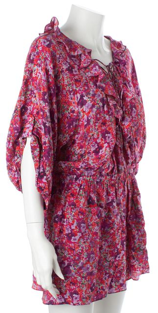 REBECCA TAYLOR Pink Purple Green Floral Silk Ruffled Romper