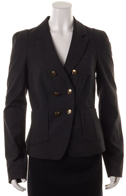 REBECCA TAYLOR Charcoal Gray Nautical Buttons Double Breasted Blazer