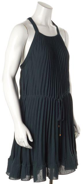 REBECCA TAYLOR Jade Green Pleated Tie Waist Blouson Dress