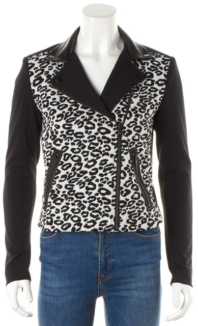 REBECCA TAYLOR Black White Leopard Print Motorcycle Jacket