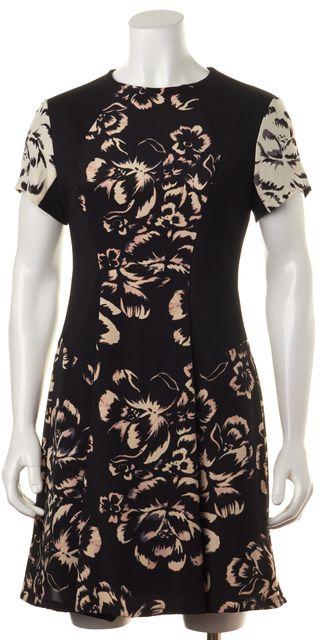 REBECCA TAYLOR Black Cream Abstract Silk Artisanal Blocked Sheath Dress