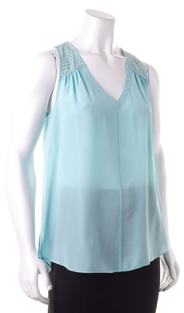 REBECCA TAYLOR Blue Embellished Sleeveless Semi Sheer Silk Blouse Top
