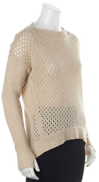 REBECCA TAYLOR Beige Wool Perforated Long Sleeve Crewneck Sweater