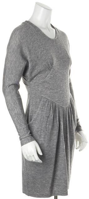 REBECCA TAYLOR Gray Long Sleeve Knee-Length Sweater Dress