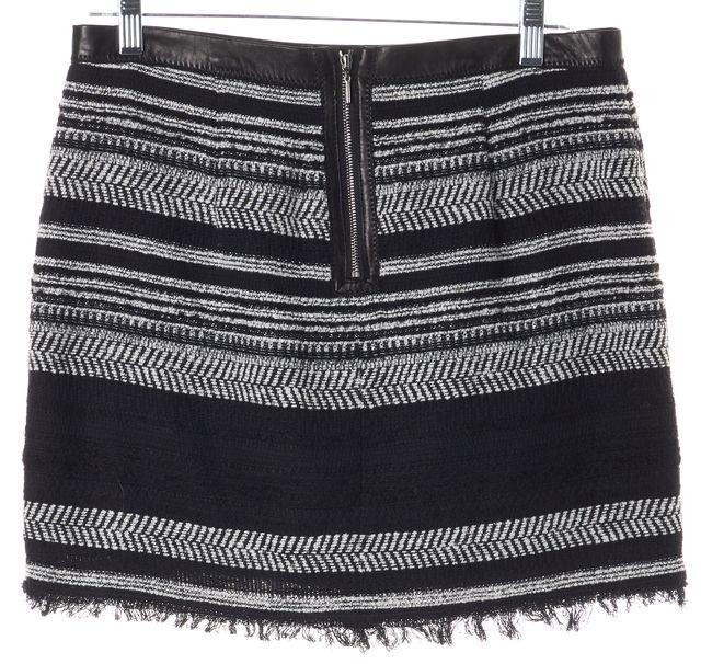 REBECCA TAYLOR Black Striped Leather Trim Waist Frayed Mini Skirt