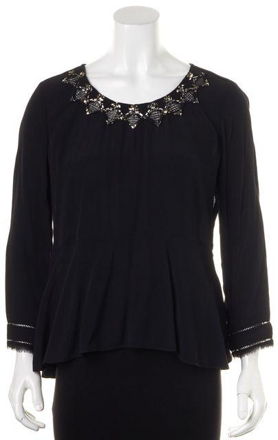 REBECCA TAYLOR Black Silver Embellished Blouse