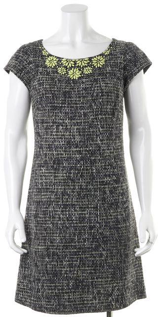 REBECCA TAYLOR Black White Embellished Cap Sleeve Tweed Shift Dress