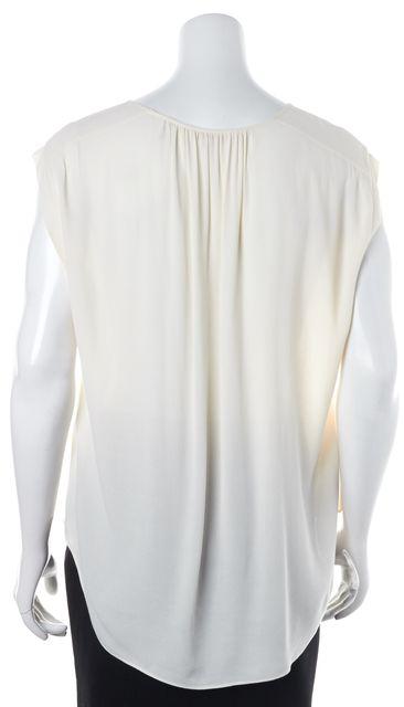 REBECCA TAYLOR Ivory Lace Trim Sleeveless Keyhole Blouse Top