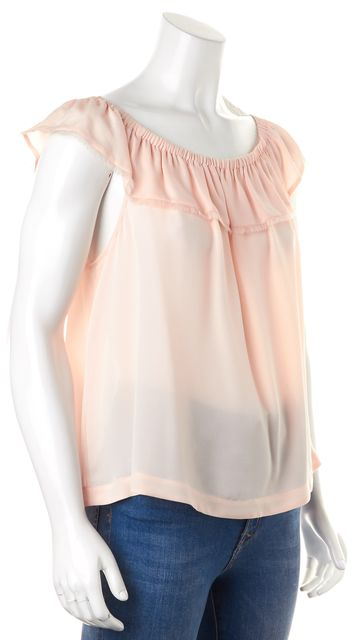 REBECCA TAYLOR Pink Off-Shoulder Semi Sheer Silk Blouse Top