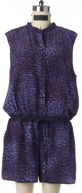 REBECCA TAYLOR Purple Animal Print Silk Sleeveless Snap Button Up Romper