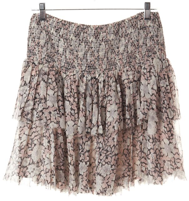 REBECCA TAYLOR Pink Grey Black Floral Above Knee Silk Tiered Skirt
