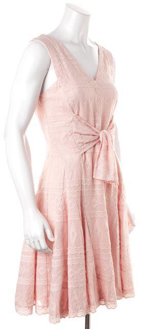REBECCA TAYLOR Pastel Pink Geometric Lace Sleeveless Sheath Dress