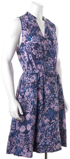 REBECCA TAYLOR Blue Pink Kiku Print Floral Silk Blouson Dress