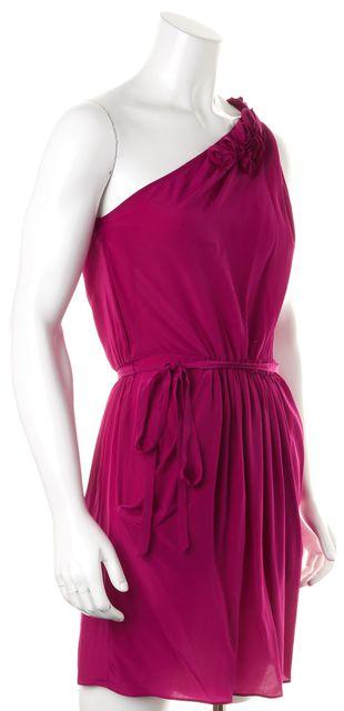 REBECCA TAYLOR Deep Magenta Silk One Shoulder Floral Blouson Dress