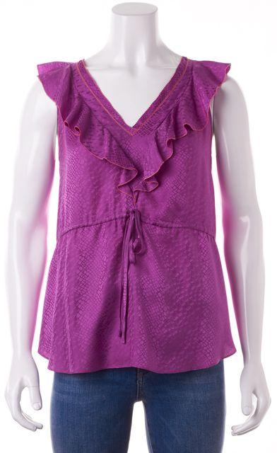 REBECCA TAYLOR Purple Silk Drawstring Ruffle Top