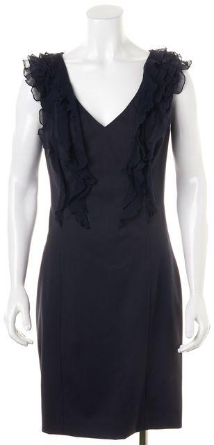 REBECCA TAYLOR Navy Blue Sleeveless Knee-Length Silk Shift Dress
