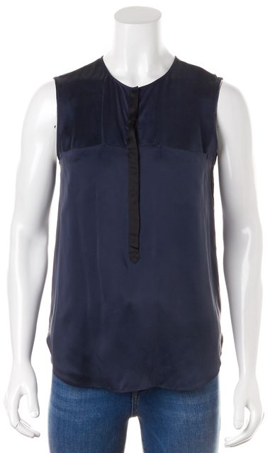REBECCA TAYLOR Navy Blue Satin Silk Black Placket Sleeveless Blouse