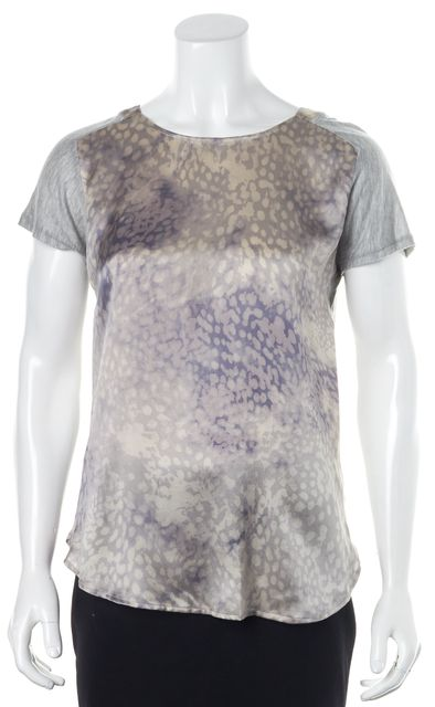 REBECCA TAYLOR Pink Gray Animal Print Silk Short Sleeve Blouse Top