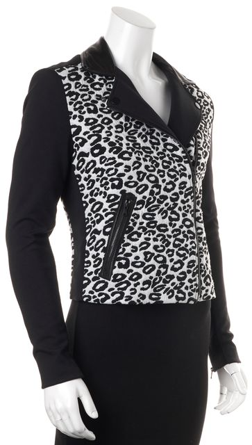 REBECCA TAYLOR White Black Leopard Print Moto Jacket