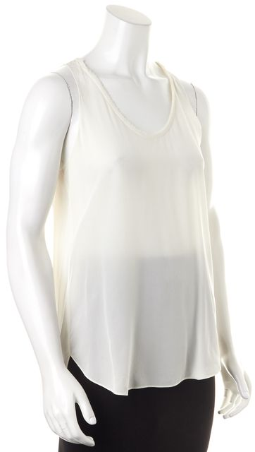 REBECCA TAYLOR White Sleeveless Semi Sheer Silk Blouse Top
