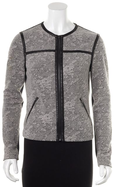 REBECCA TAYLOR Gray Floral Zip Up Jacket