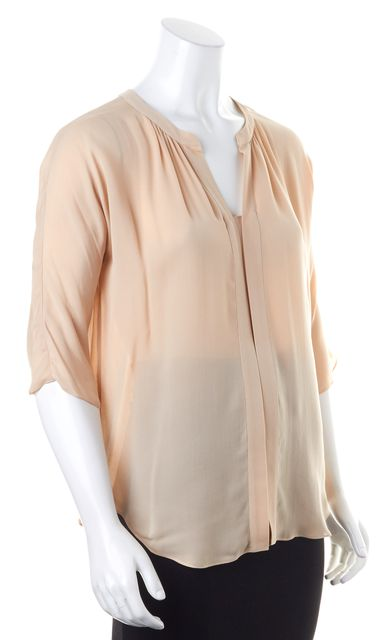 REBECCA TAYLOR Beige Silk 3/4 Sleeve Relaxed Fit Blouse Top