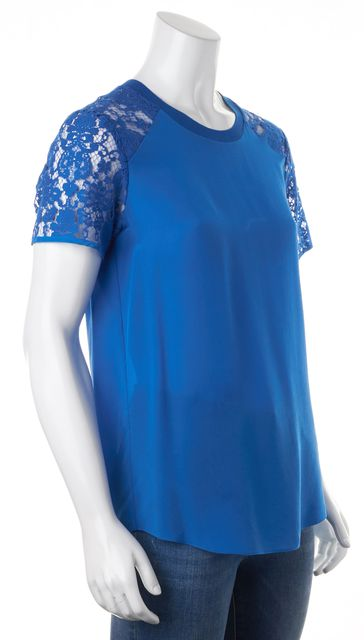 REBECCA TAYLOR Blue Silk Sheer Lace Short Sleeves Pleated Back Blouse