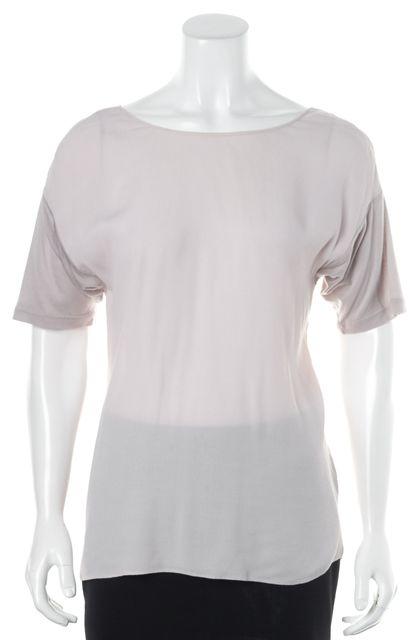 REBECCA TAYLOR Pale Lanvender Silk Criss Cross Back Short Sleeve Top