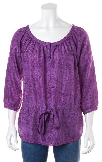 REBECCA TAYLOR Purple Snake Print Drawstring Silk Top