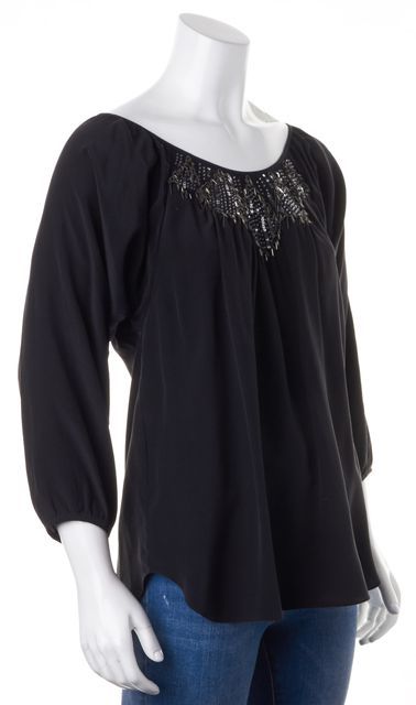 REBECCA TAYLOR Black Bead Sequin Embellished Silk Blouse