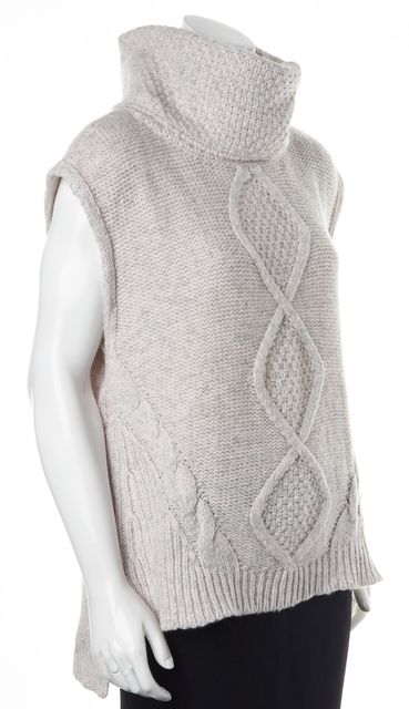 REBECCA TAYLOR Light Gray Baby Pink Wool Blend Medium Knit Top