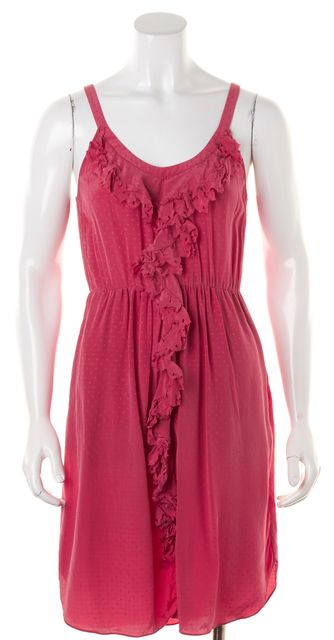 REBECCA TAYLOR Pink Silk Ruffle Trim Scoop Neck Blouson Dress