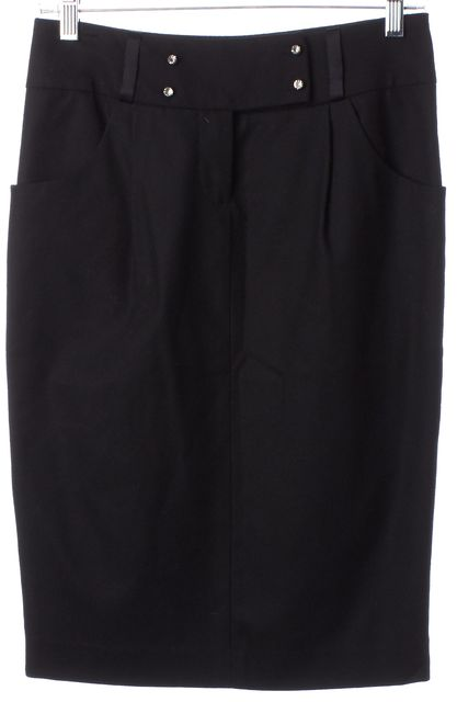 REBECCA TAYLOR Black Jewel Embellished Wool Knee-Length Pencil Skirt